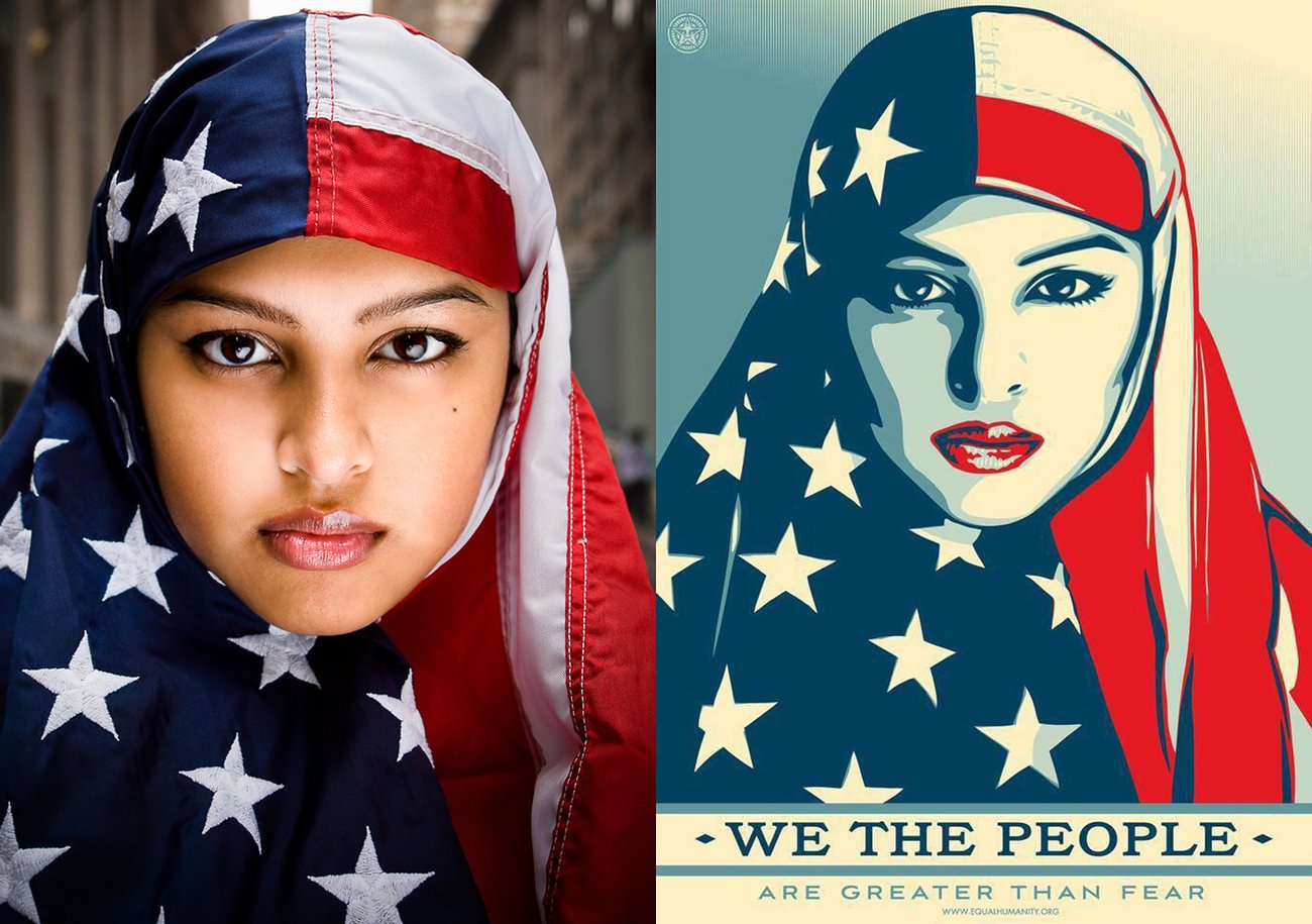 Ridwan Adhami's I Am America photo next to Shepard Fairey's We The People illustration. Munira Ahmed, the subject, calls the work 'an honor'. Photograph: Ridwan Adhami, Shepard Fairey
